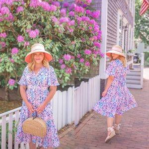Kate Spade Daisy Garden Flutter Sleeve Midi Dress